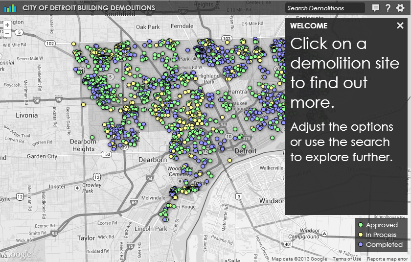 Interactive demolition map