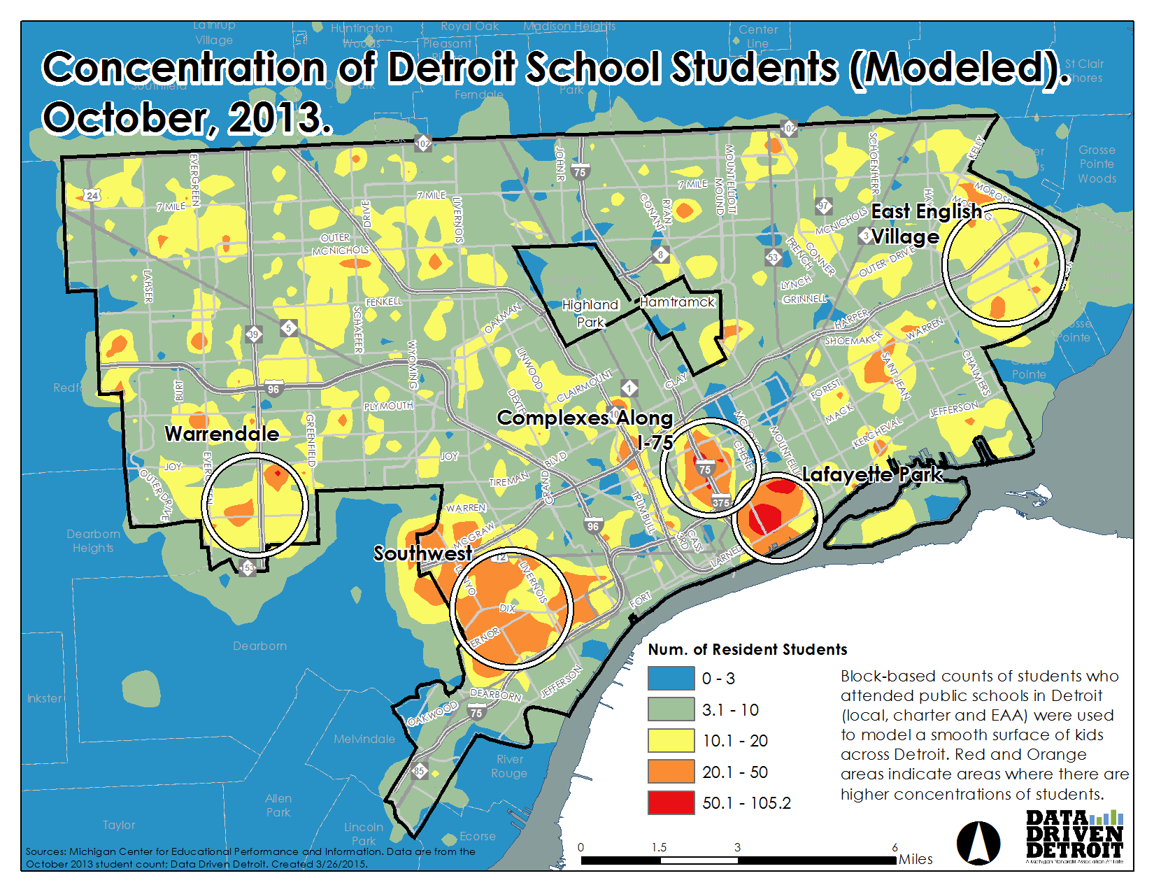 Data driven detroit 2015 march modeled map showing where students are concentrated 1betcityfo Images