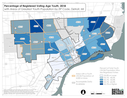 Percentage of Youth Registered to Vote - Detroit Map