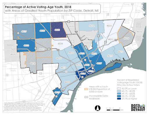 Percentage of Youth Active Voters - Detroit Map
